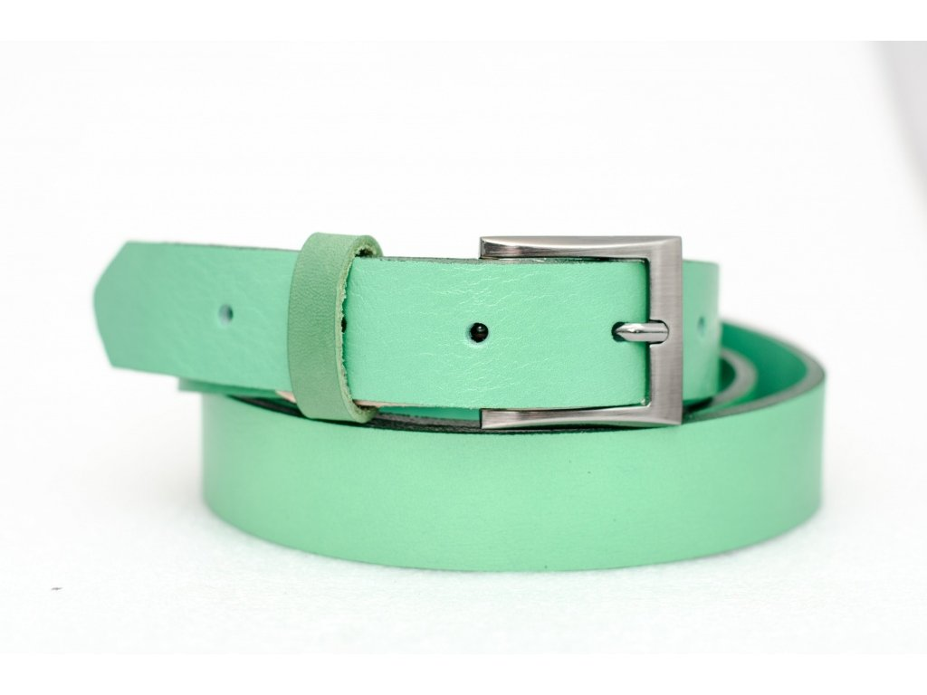 Zelený kožený opasek, šíře 30mm