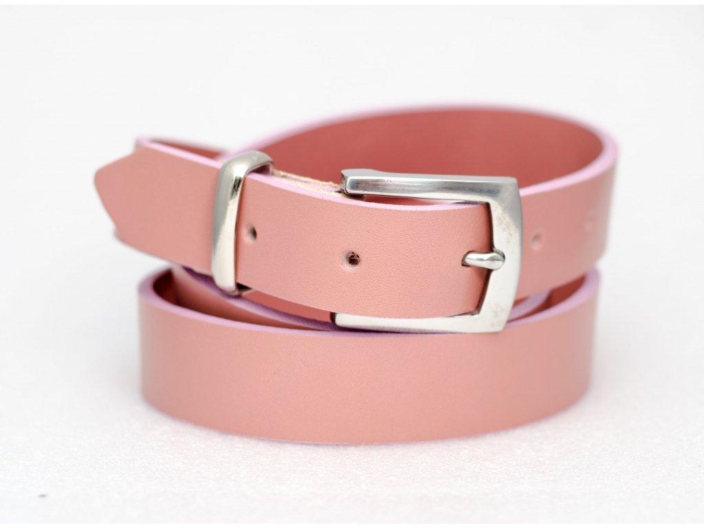 Růžový kožený opasek, NEREZ spona, šíře 30mm