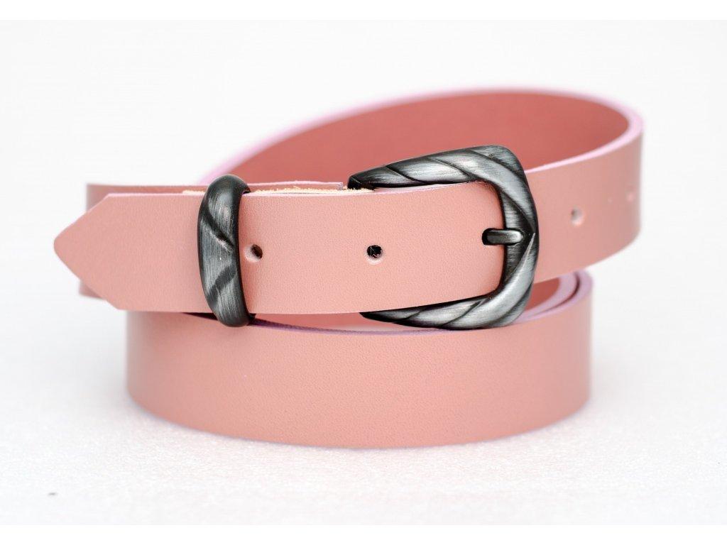 Růžový kožený opasek, šíře 30mm