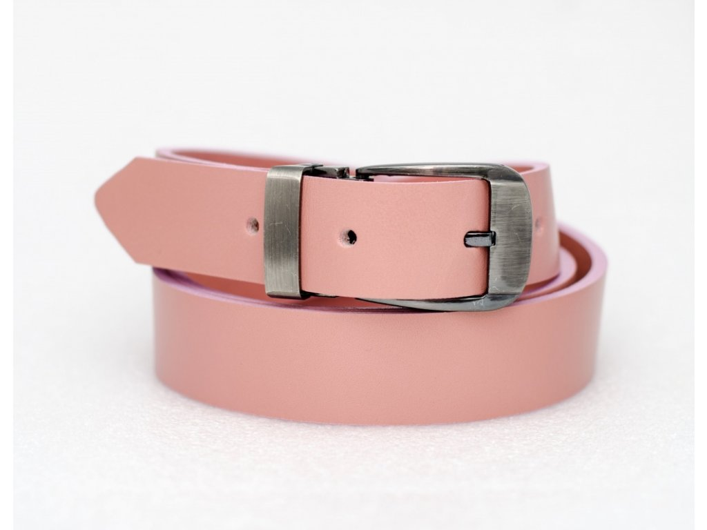 Růžový kožený opasek, 30mm