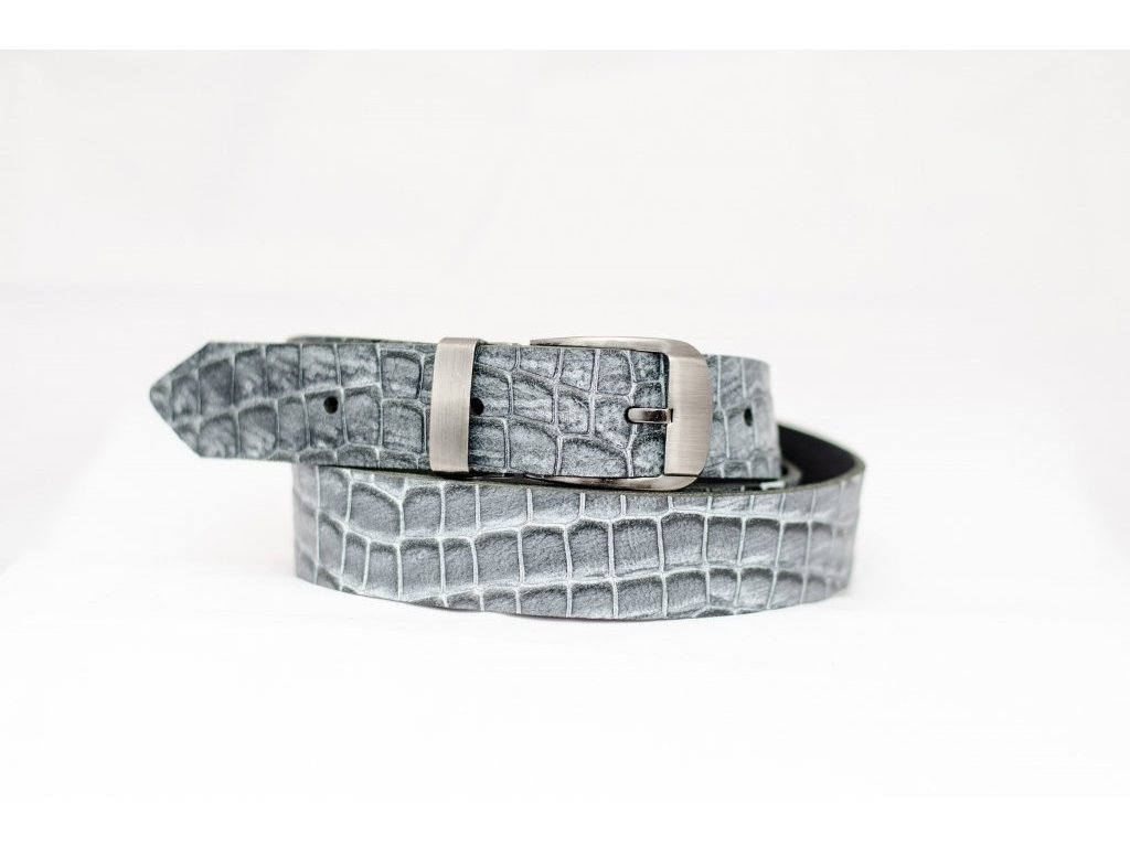 Krokodýlí kožený opasek, šíře 30mm