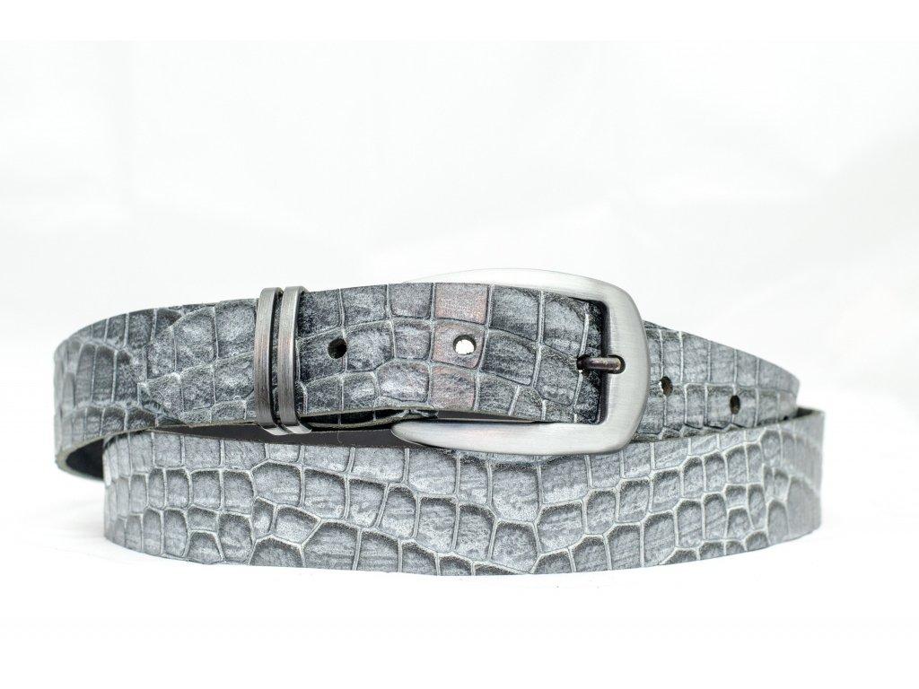 Kožený opasek CROCODILE Edition, 30mm šíře