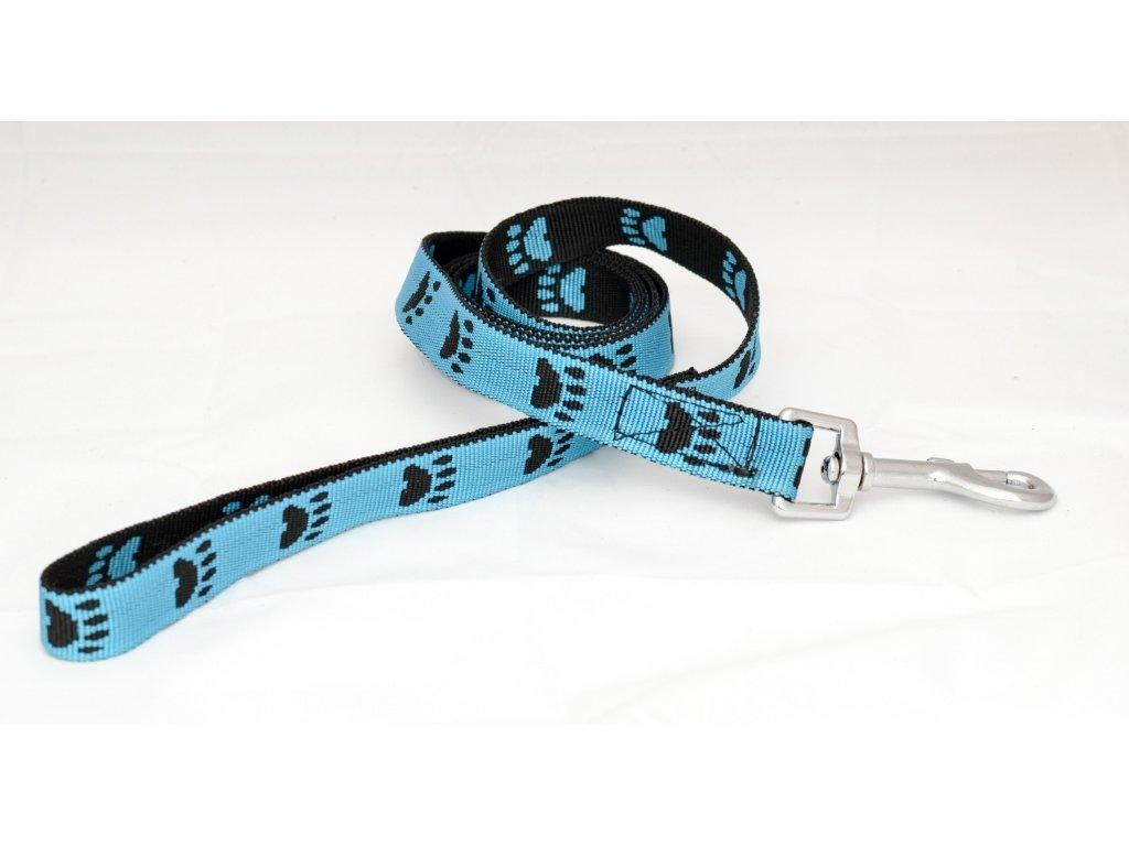 Popruhové vodítko TLAPKY modré, 20mm šíře, délka 145cm