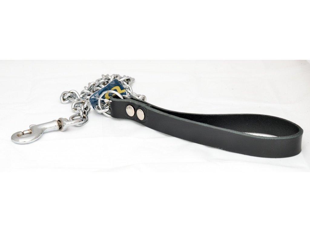 Řetízkové vodítko střední s koženým uchem, síla řetězu 2,5mm, délka vodítka 110cm