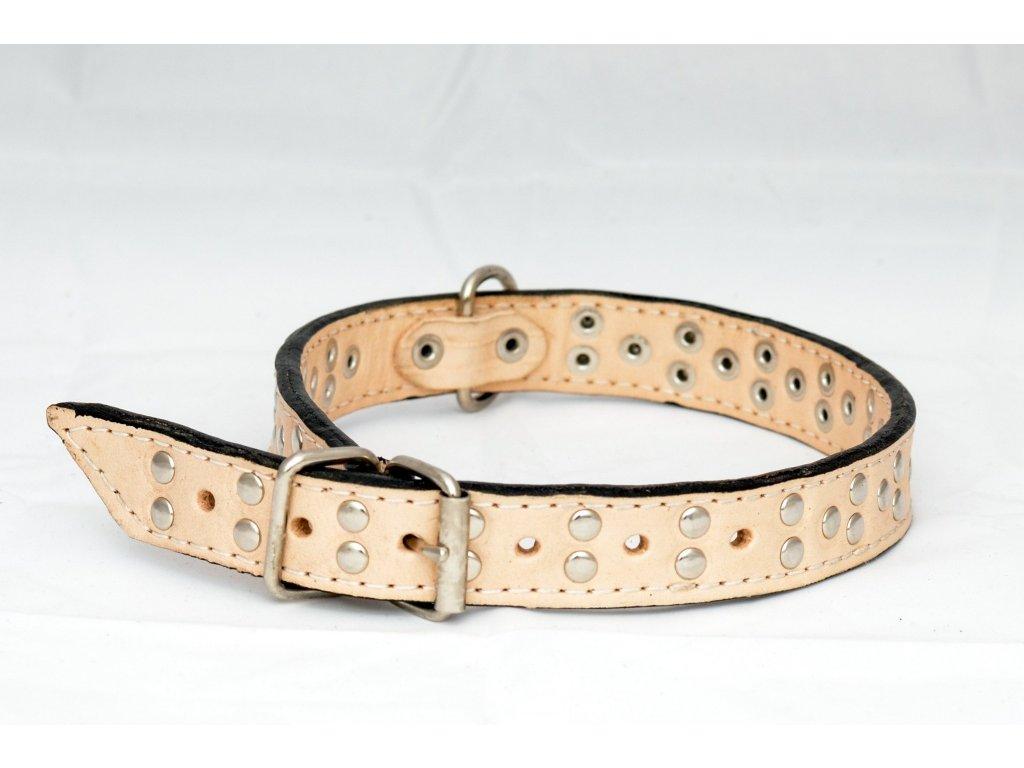 Kožený obojek podšitý kůží zdobený peckami, šíře 22mm, obvod krku 40-50cm