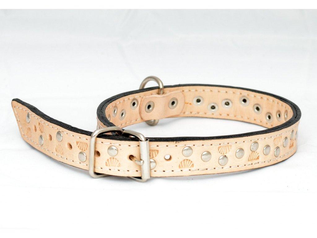 Kožený obojek podšitý kůží zdobený peckami a raznicí, šíře 22mm, obvod krku 40-50cm