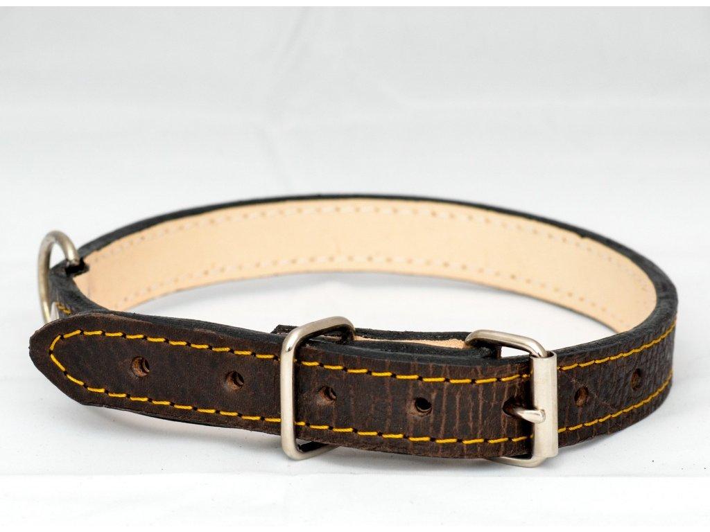 Kožený obojek podšitý kůží, šíře 22mm, obvod krku 45-55cm