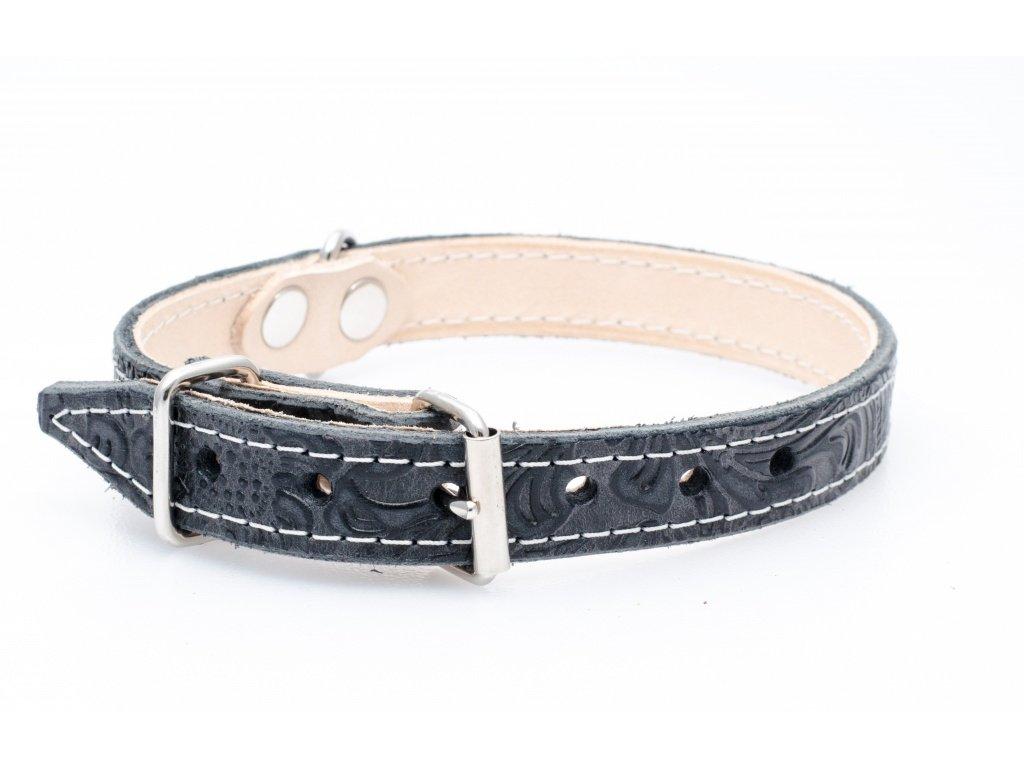 Kožený obojek pro psa, podšitý kůží, CHROM přezka, 22mm, obvod krku 35-45cm