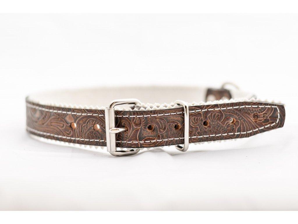 Obojek pro psa kožený, s raznicovým motivem, podšitý, šíře 28mm, obvod krku 55-65cm