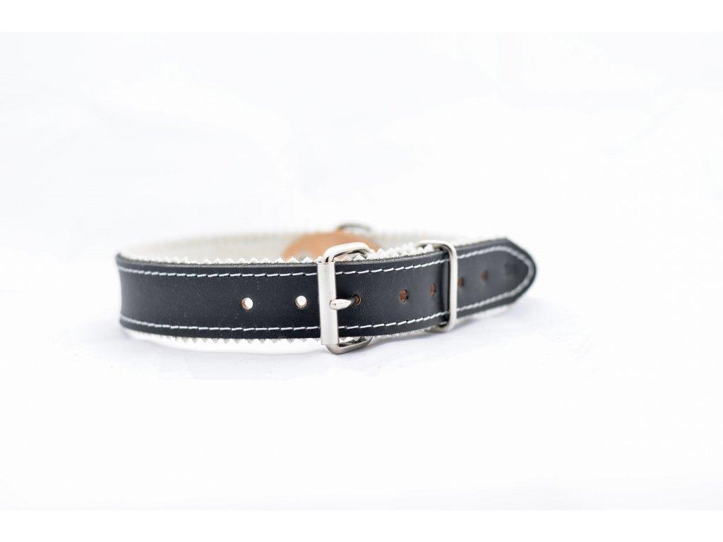 Obojek pro psa kožený, ČERNÝ, podšitý, šíře 28mm, obvod krku 55-65cm