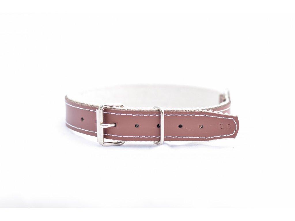 Obojek pro psa kožený, HNĚDÝ, podšitý, šíře 28mm, obvod krku 55-65cm