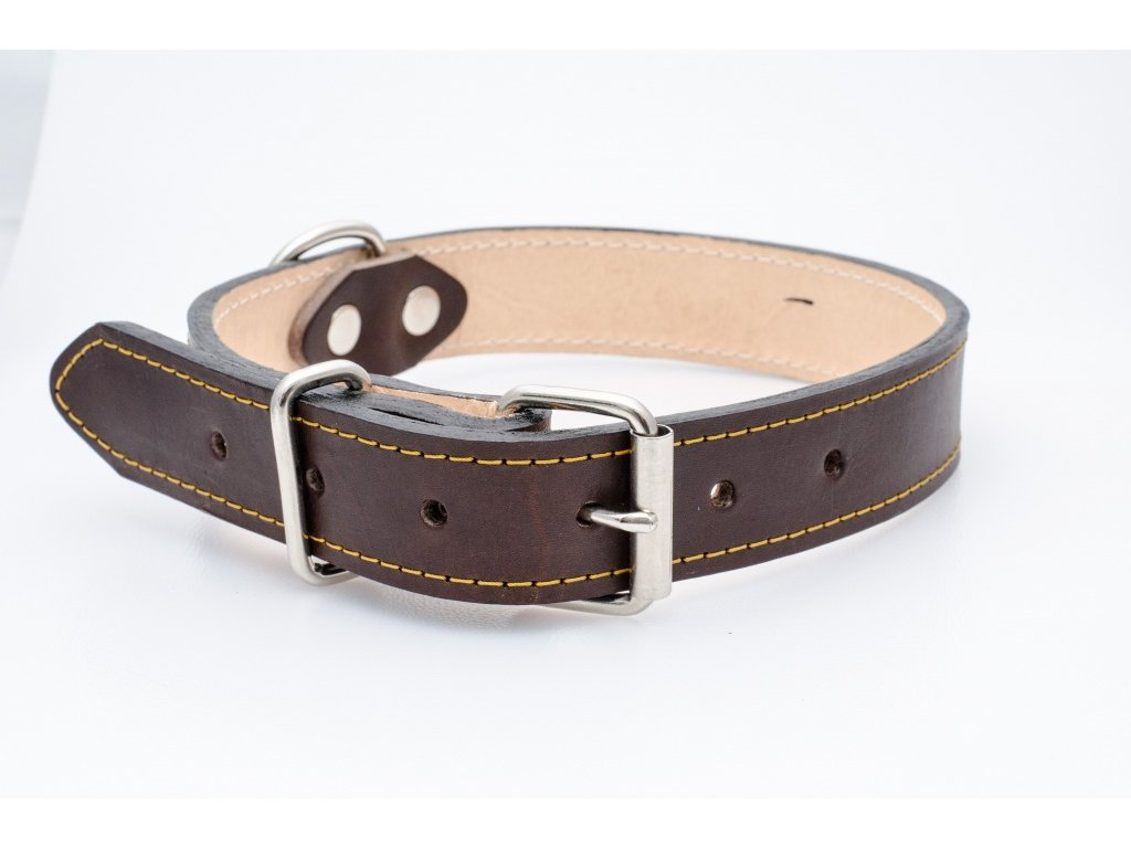 Kožený obojek pro psa, podšitý kůží, CHROM přezka, 28mm šíře, obvod krku 30-40cm