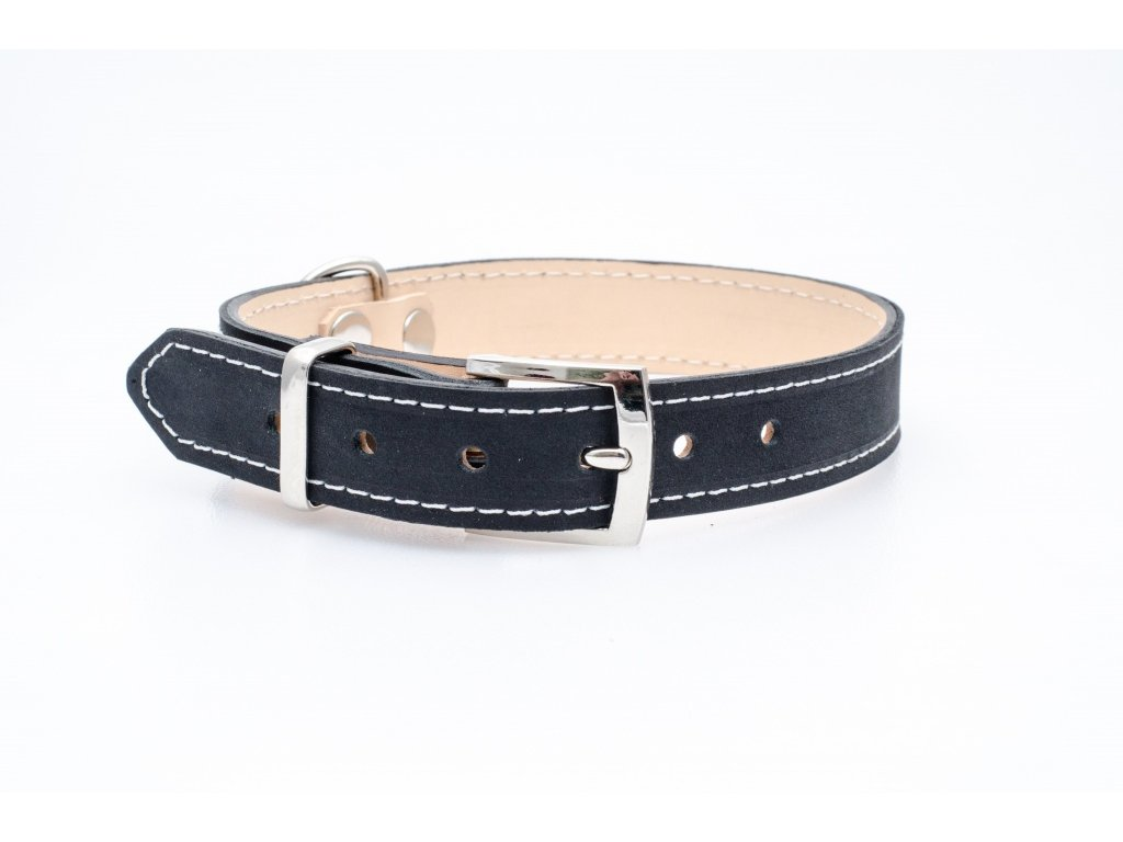 Kožený obojek pro psa, podšitý kůží, NEREZ přezka, 30mm šíře, obvod krku 40-50cm