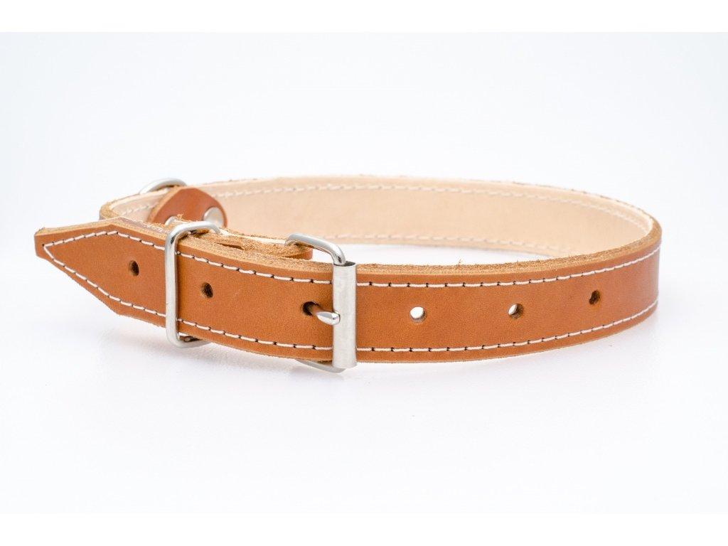 Kožený obojek pro psa, podšitý kůží, NEREZ přezka, 30mm šíře, obvod krku 45-55cm