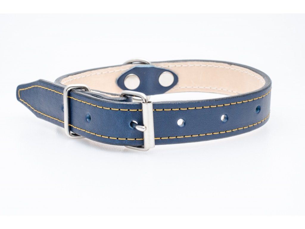 Kožený obojek pro psa, podšitý kůží, CHROM přezka, 30mm šíře, obvod krku 50-60cm