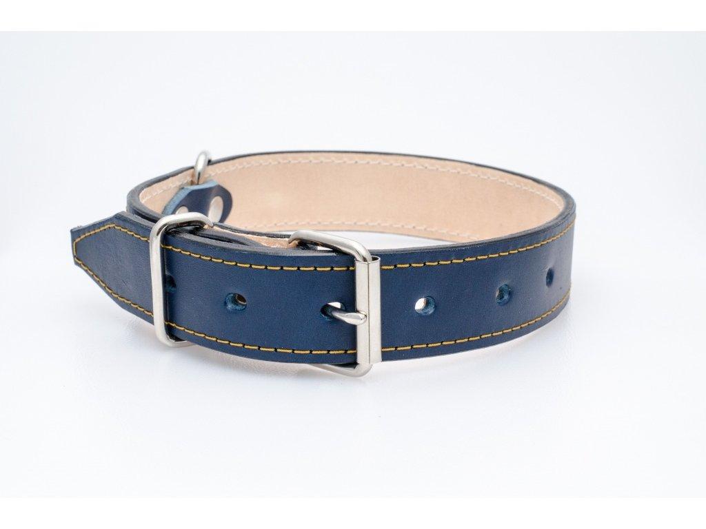 Kožený obojek pro psa, podšitý kůží, CHROM přezka, 35mm šíře, obvod krku 55-65cm