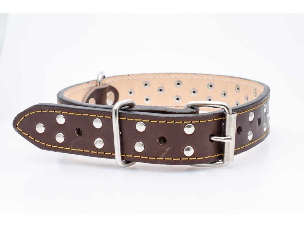 Kožený obojek pro psa, podšitý kůží, CHROM přezka, 35mm šíře, obvod krku 50-60cm