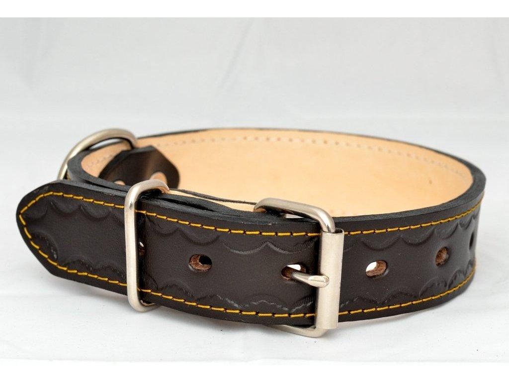 Kožený obojek podšitý kůží zdobený raznicí, šíře 35mm, obvod krku 50-60cm