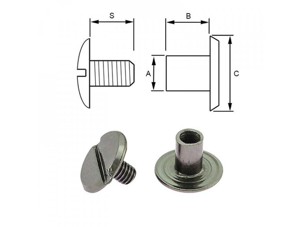 steel screw post 4 6 mm 100 pcs black nickel 3461 l[1]
