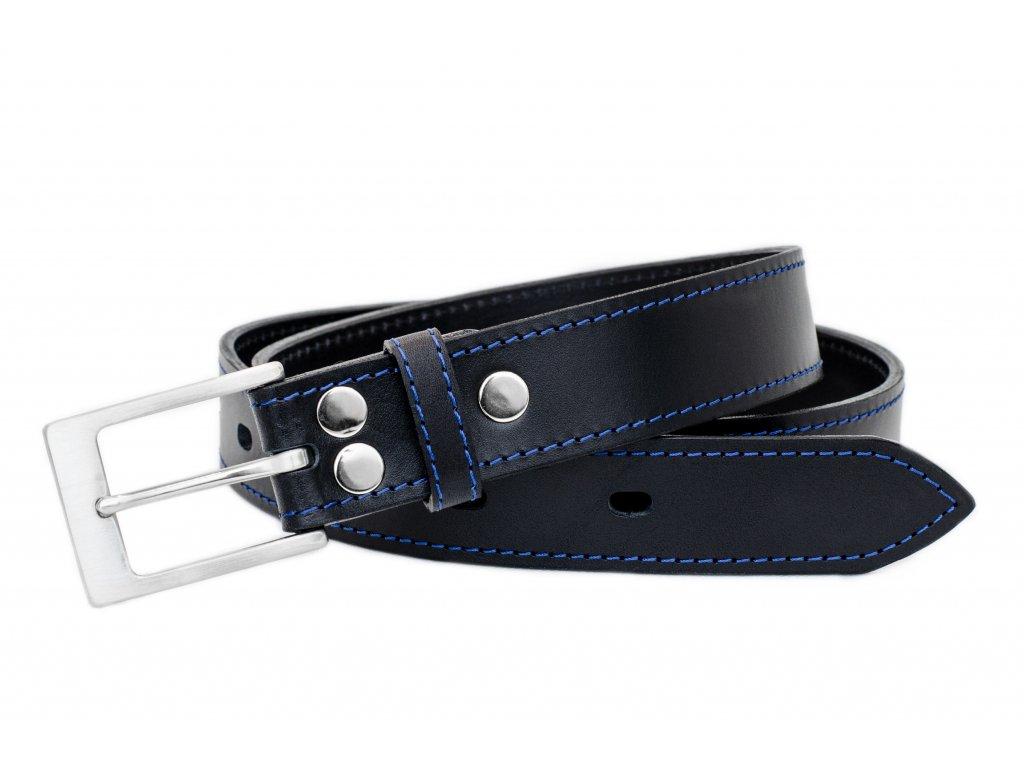 Kožený opasek PREMIUM v černé barvě, nerezová spona, 35mm šíře (Délka opasku 110cm, Barva šití Modrá)