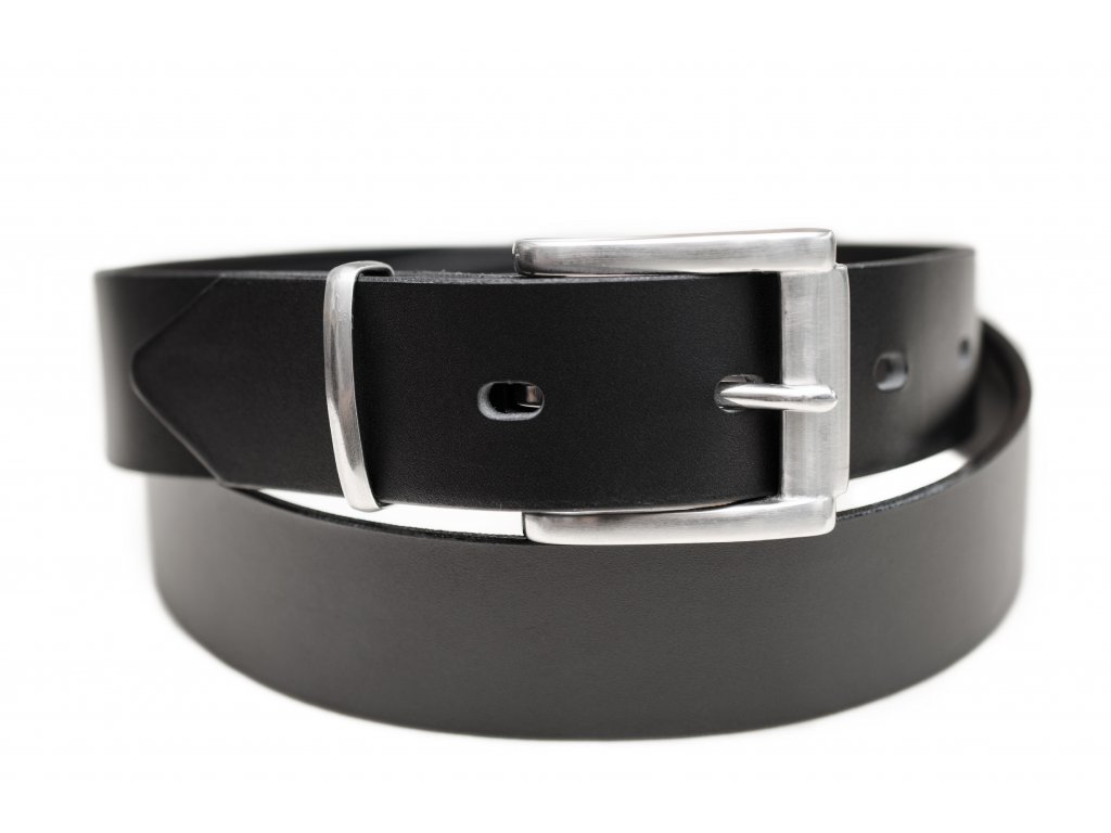 Kožený opasek PREMIUM v černé barvě, nerezová spona, 40mm šíře (Délka opasku 100cm, Barva šití Bez šití)