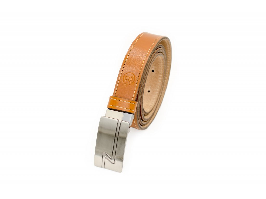 TLW Koňakový společenský kožený opasek o šíři 30mm