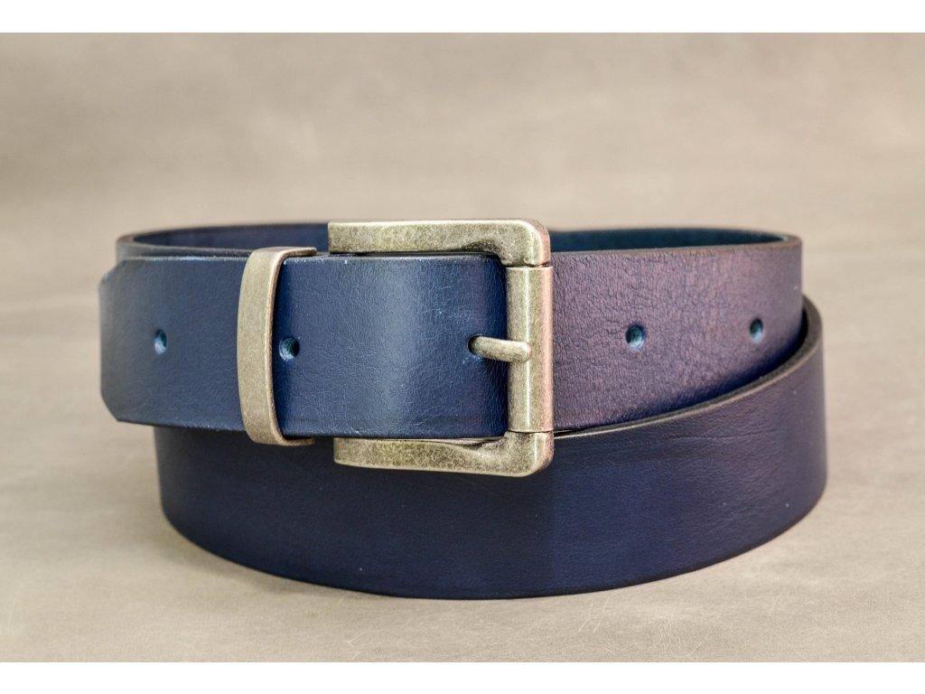 Modrý NAVY kožený opasek, STAROSTŘÍBRNÁ SPONA, šíře 40mm