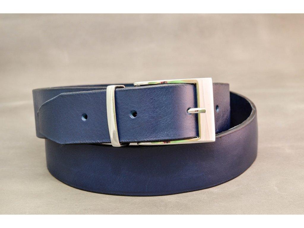Modrý NAVY kožený opasek, bez šití, CHROMOVÁ SPONA, šíře 40mm