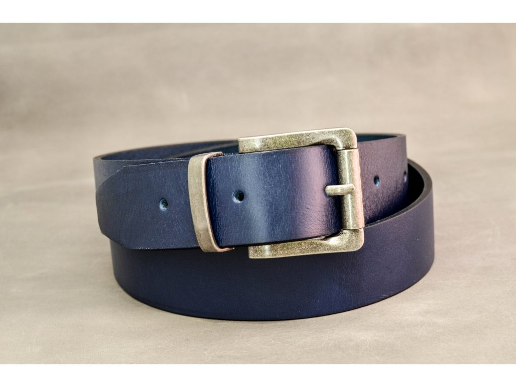 Modrý NAVY kožený opasek, bez šití, STAROSTŘÍBRNÁ SPONA, šíře 40mm