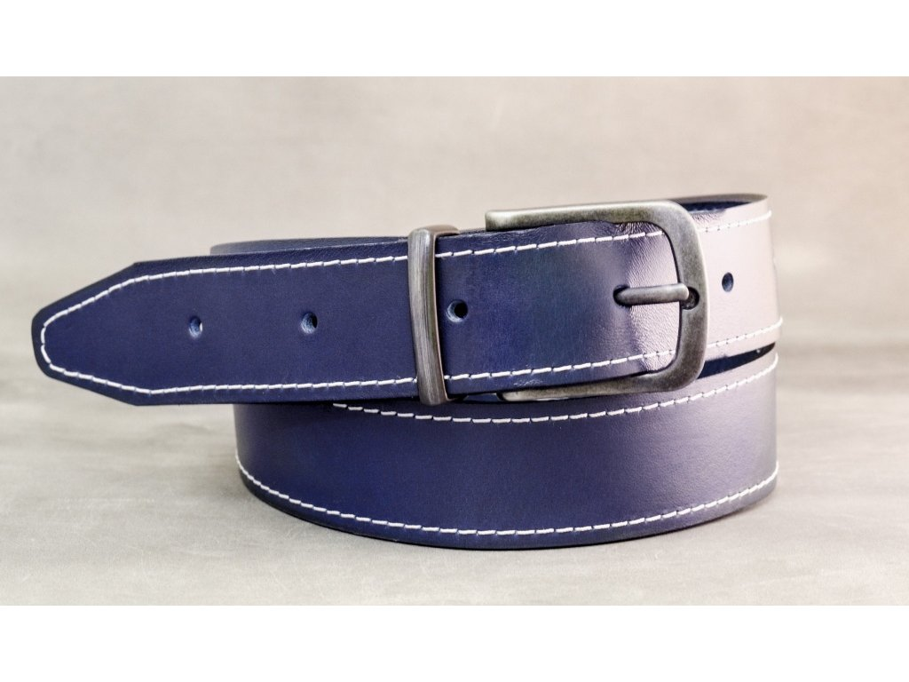 Modrý NAVY kožený opasek, šíře 40mm