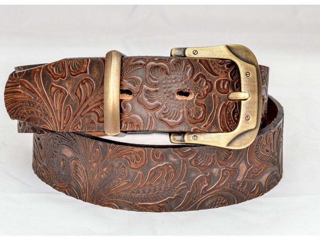 Kožený opasek z ornamentové kůže s mosaznou sponou, šíře 40mm