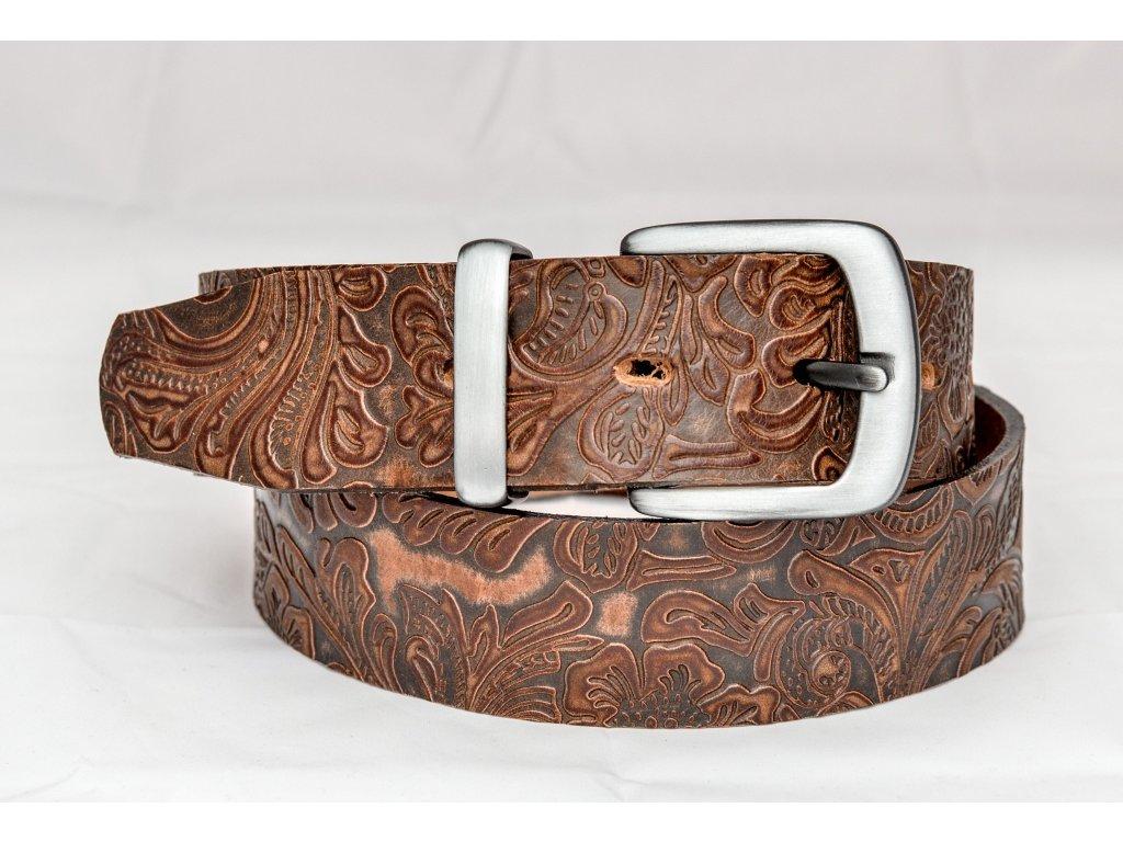 Kožený opasek z ornamentové kůže se sponou STARONIKL, šíře 40mm