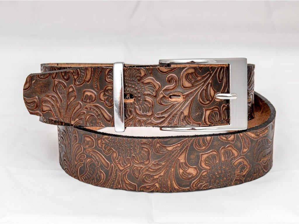 Kožený opasek z ornamentové kůže s chromovou sponou, šíře 40mm
