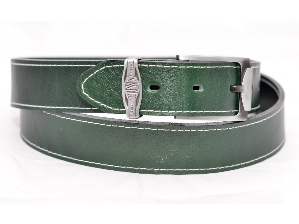 Kožený klasický opasek SMARAGD EDITION, šíře 40mm