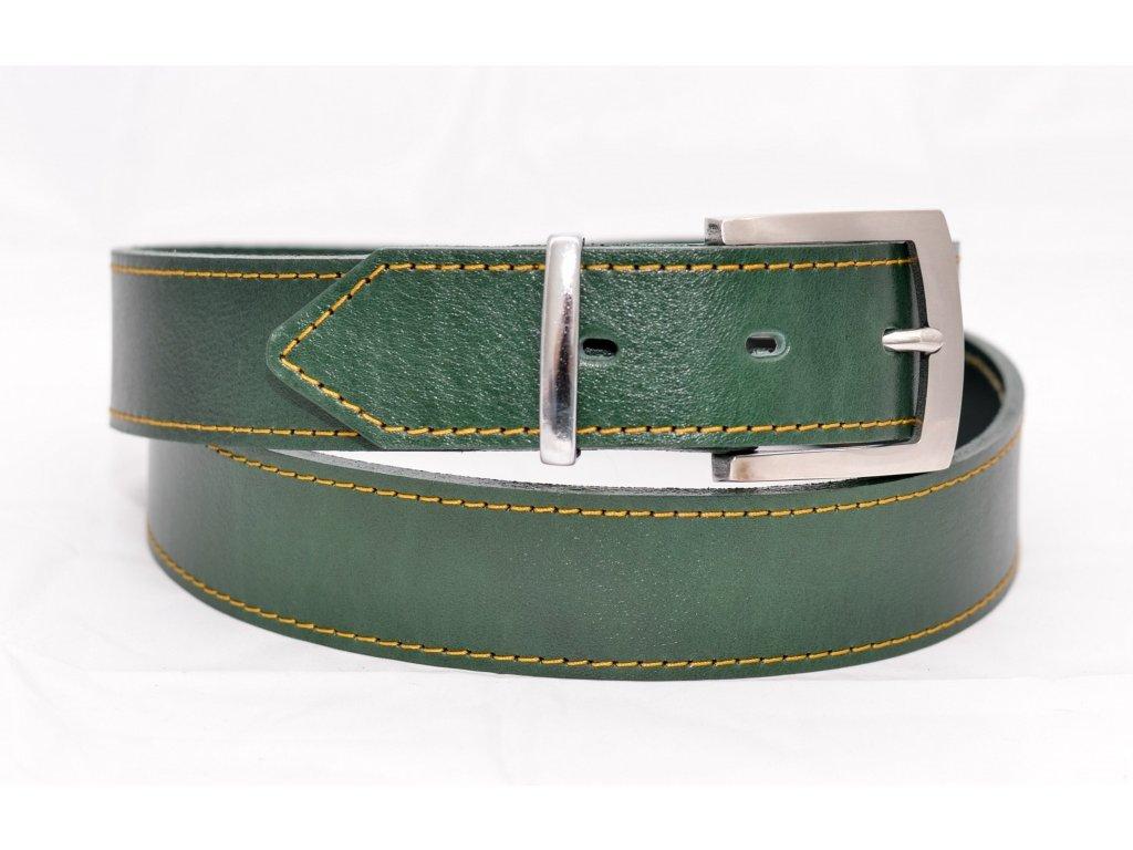 Kožený klasický opasek SMARAGD EDITION, ocelová NEREZ spona, šíře 40mm