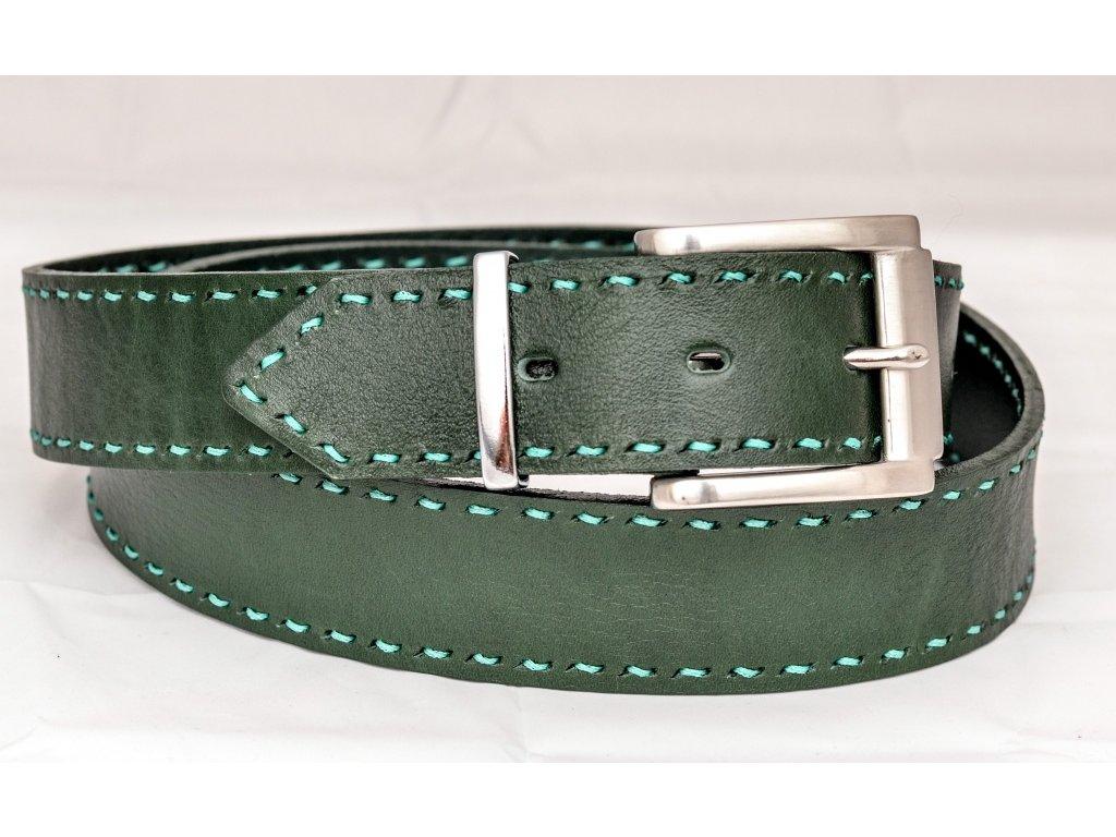 Kožený opasek SMARAGDOVÁ EDICE, ruční šití a NEREZ spona, šíře 40mm
