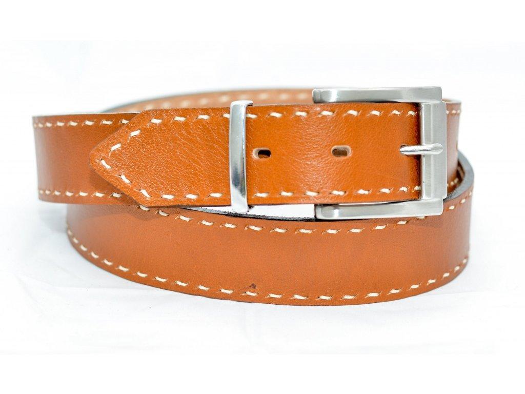 Kožený opasek COGNAC EDITION, ocelová NEREZ spona, šíře 40mm