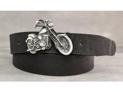 Černý kožený opasek CHOPPER, šíře 40mm