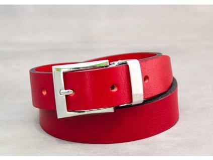 Červený kožený opasek úzký bez šití s CHROMOVOU sponou, šíře 30mm