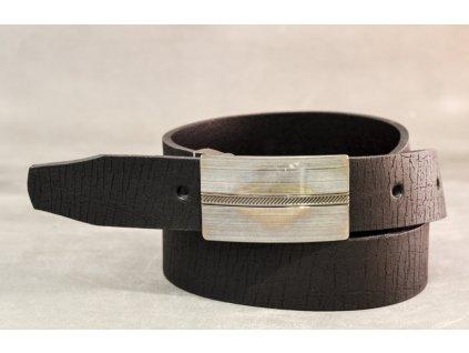 Černý kožený opasek s kovovou sponou, šíře 30mm