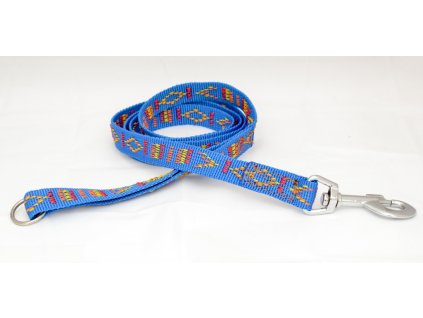 Popruhové vodítko se vzorem, modré, 20mm šíře, délka 145cm