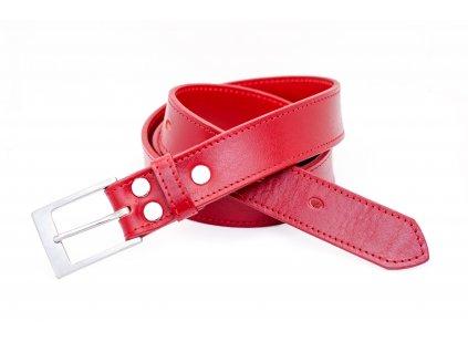 Červený kožený opasek PREMIUM s nerez sponou o šíři 35mm