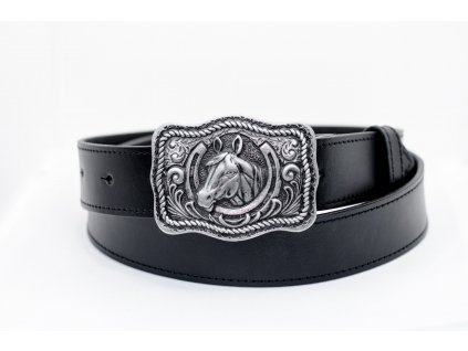 TLW Černý kožený opasek HORSE šíře 40mm
