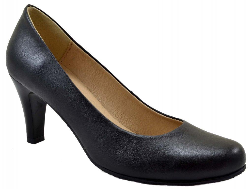 9f12fb26034 231 kožene černé lodičky jednoduché elegantní společenská obuv