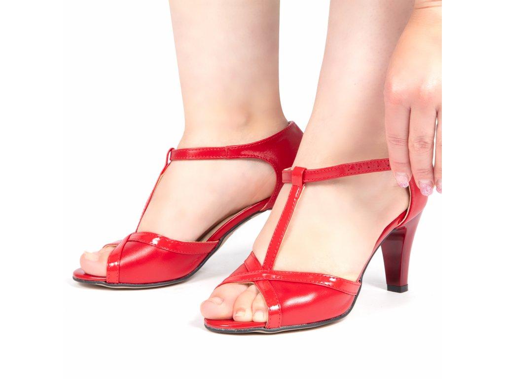 609d62b9e3 ... 1 136 červené czerwien+lakier kožené lodičky pásek přes nárt stabilní taneční  moderní elegantní sexy 2 ...