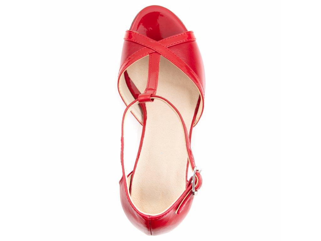5f7248e168 ... 136 červené czerwien+lakier kožené lodičky pásek přes nárt stabilní taneční  moderní elegantní sexy 3