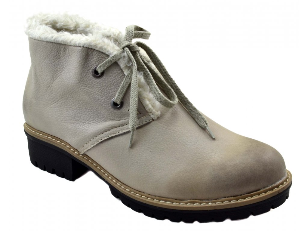 346673ac39a 545 béžová rustic23 dámské kožené podzimní zimní nízké polobotky na  zavazování zateplené ovečkou teplé lehké levné