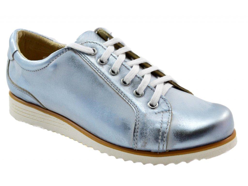 B55 damske kozene tenisky metalicke modre bile moderni volnocasove e4e0a46a22d