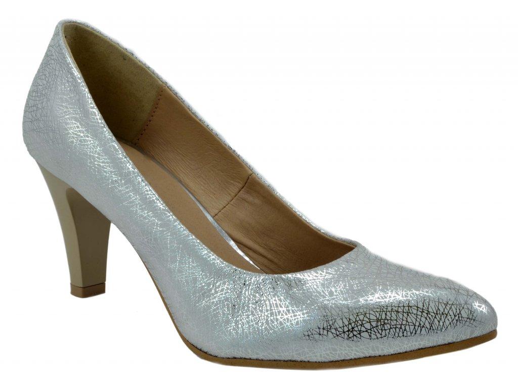 130 2 stříbrná pajak bílé lodičky se vzorem jednoduché sexy moderní  společenské svatební eed3b82799