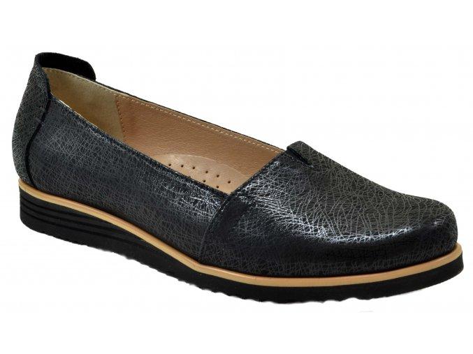 B51 černé jarni kožené polobotky baleriny černá obuv moderní městská vycházková měkké